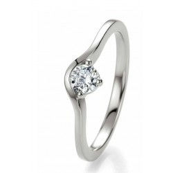Solitaire bague fiançaille or blanc Or 750/1000