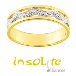 Bague or jaune diamants 9 carats