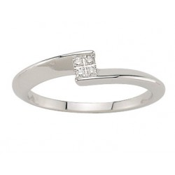 Solitaire or gris 18K multi Pierre