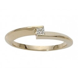 Solitaire fantaisie diamant princesse or jaune 18K