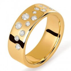alliance or jaune et diamants stellaire ponce