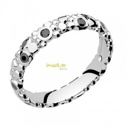 Alliance originale or blanc 18 carats et diamants noirs
