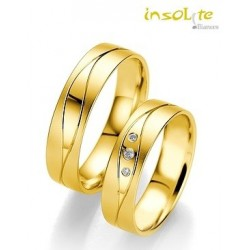Alliance or jaune 14 carats  pas chere fantaisie originale et diamants