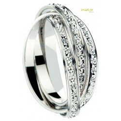 Alliance or blanc 3 anneaux  mobile 9 carats 375:1000