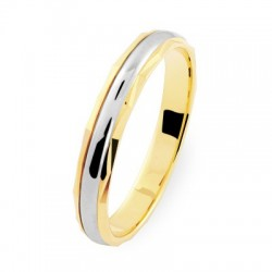 Alliance femme fantaisie or jaune facetté or blanc 18 carats