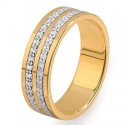 Alliance fantaisie or jaune anneaux or blanc diamantés 18 carats