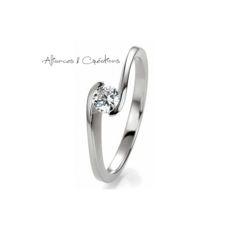 Solitaire Or Blanc Decale Design Et Diamant