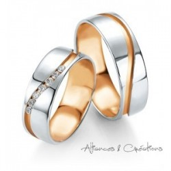ALLIANCE MARIAGE BREUNING OR BLANC OR ROSE ET DIAMANTS