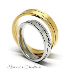 Bague Duo Mariage or blanc or jaune ligne Insolite Alliance