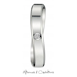 Alliance solitaire diamant courbe design