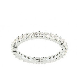 Alliance femme or blanc tour complet diamants serti grffes 1.11 ct