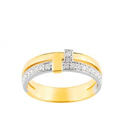 Bague bicolore or blanc & jaune et diamants