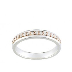 Alliance bicolore or blanc & rose et diamants serti grains