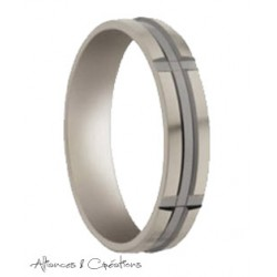 Alliance de mariage homme ruthenium or blanc