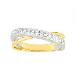 Alliance entrelacée 2 ors 9 ct et diamants princesses