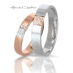 Alliance duo bicolore or rose & blanc avec diamants