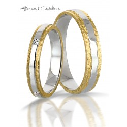 Alliance or Jaune or blanc diamants fantaisie originale