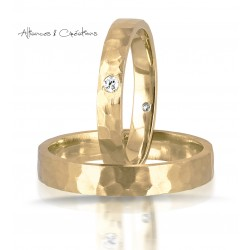 Alliance mariage duo exclusive design or jaune facettée