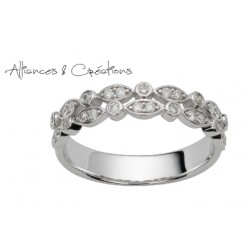 Alliance vintage or blanc et diamants originale