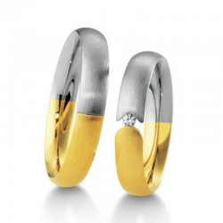 Alliance duo bicolore or jaune & blanc et diamant