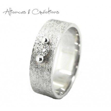 Solitaire Bague Diamant texturé or blanc