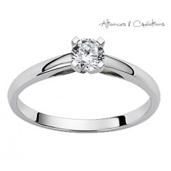 Solitaire fiancaille or blanc serti 4 griffes 0.10 carats