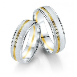 Alliance bicolore or blanc & jaune et diamant