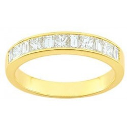 Alliance or jaune demi tour diamants princesses 1 ct
