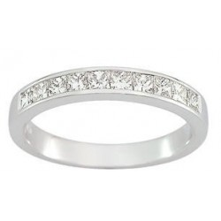 Alliance or blanc demi tour diamants princesses 0.30 ct