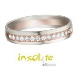 Alliance bicolore or blanc & rose demi-tour diamants