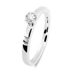 Solitaire or blanc double encoche diamant serti griffe