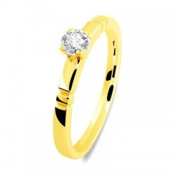 Solitaire or jaune double encoche diamant serti griffe