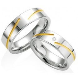 Alliance femme bicolore or blanc & jaune et diamants