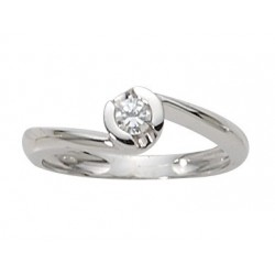 Solitaire diamant & or blanc