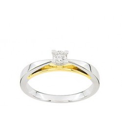 Solitaire or blanc or jaune diamant 0.16 ct